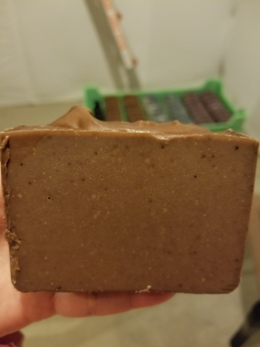 Chocolate Cake soap after cure. Vanilla darkens to brown.
